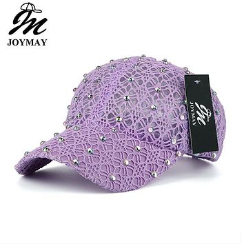 JOYMAY Brand 2017 New Arrival Snapback Women Lace With Rhinestone Hotdrilling Baseball Cap  For Summer Casquette Sun Hat B434
