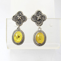 Lori Bonn Earrings. Amber Sterling Silver Earrings. Dangle Drop Pierced Studs. Lori Bonn Jewelry