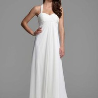 Halter Chiffon A-Line with Center Front Draping - David's Bridal- mobile