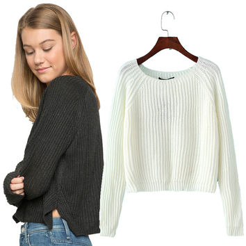 crop casual sexy women sweater