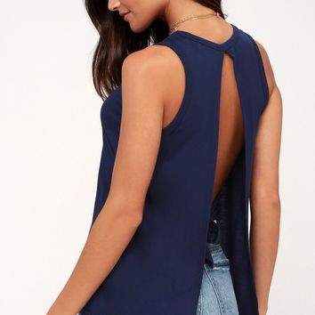 Impassioned Navy Blue Tank Top