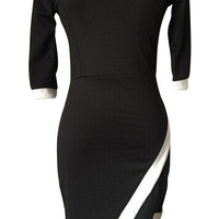 Contrast Color Bodycon Wrap Mini Dress with Sleeve