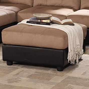 Transitional Microfiber/Vinyl Leather/Wood Ottoman With Tufting, Chocolate