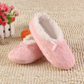2017 New Warm Soft Sole Women Indoor Floor Slippers/Shoes White Black Woolen Slippers Flannel Flat Home Slippers 7 Color XP30
