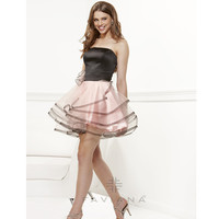 Faviana 2013 Prom - Ballerina Pink & Black Tulle Strapless Short Prom Dress - Unique Vintage - Cocktail, Pinup, Holiday & Prom Dresses.