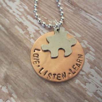 Handstamped copper pendant says Love Listen Learn perfect for Autism Awareness or teacher puzzle piece charm