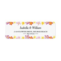 Elegant Floral Tropical Summer Wedding Address Label