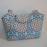 Large Tote in Amy Butler Blue and Cream Lotus by moxiebscloset