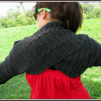 Long Sleeve Shrug, Twisted Arm Warmers, Crochet Cowl, Sleeved Cowl, Twisted Scarf