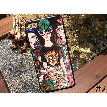 GUCCI illustration personality iphoneX mobile phone shell 7plus protective cover F-OF-SJK #2