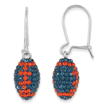 Sterling Silver Swarovski Crystal Auburn U Football Earrings CE0172-46