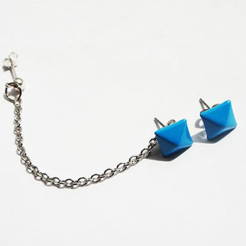 Ear Stud with Chains Silver Blue Studs Ear by MaggieMadeWithLove