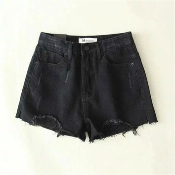 Korean Summer Women's Fashion Split High Rise Denim Shorts [4919973508]