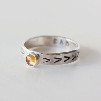 Solar Plexus Chakra Ring, Sterling Silver Citrine Stacking ring, Mantra ring, Citrine ring, Solar Plexus chakra, yoga ring, yoga jewelry
