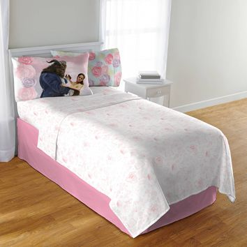 """Disney's Beauty and the Beast """"Enchanted Romance"""" Kids' Bedding Sheet Set Twin, Exclusive"" Pink"