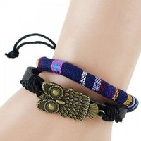 Multilayer PU Leather Night Owl Bracelet - Blue