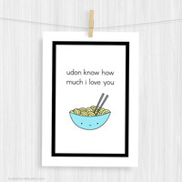 Funny Art Print Cute Food Pun Illustration Wall Decor Fun Noodles Love Handmade Christmas Gifts Gift Ideas For Girlfriend Boyfriend Her Him