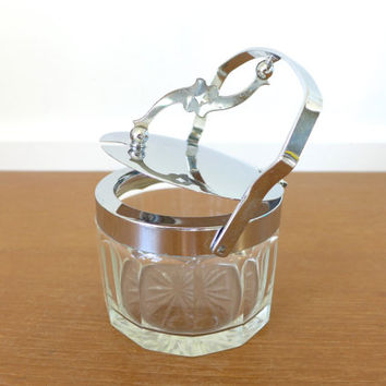 Cut glass bowl with hinged chrome lid, sugar bowl, coffee or tea canister
