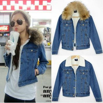 DCC3W WOMEN'S REAL FUR COLLAR BERBER FLEECE DENIM JACKET 911