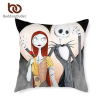 BeddingOutlet Couple Cushion Cover Lover Printed Nightmare Before Christmas Cushion Case 45cmx45cm Bedding