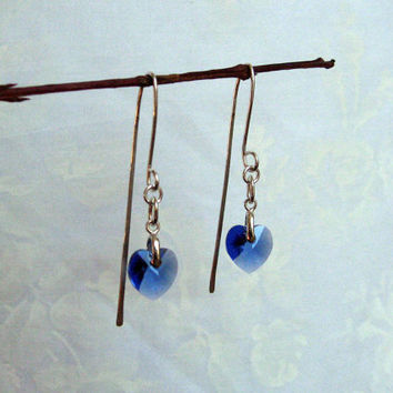 Sapphire Heart Earrings, Swarovski Heart Earrings, Sterling Silver, Long Dangle Earrings, Love Earrings, Hammered Earrings
