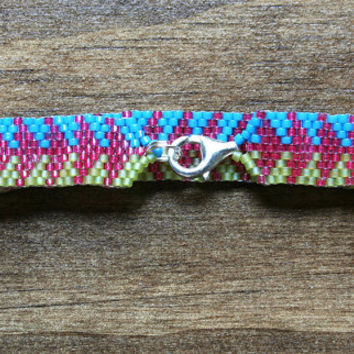 Strawberry Pink, Key Lime Pie Green and Bright Cyan Arrow Patterned Peyote Bracelet