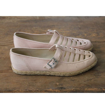 reserved for ELIZABETH - pink canvas flats / keds shoes / mary janes 8.5