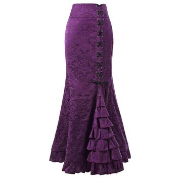 Sisjuly Women Court Vintage Lace Up Floral Jacquard Long Mermaid Skirt Purple Black Gray Red Ruffles Autumn Winter Maxi Skirts