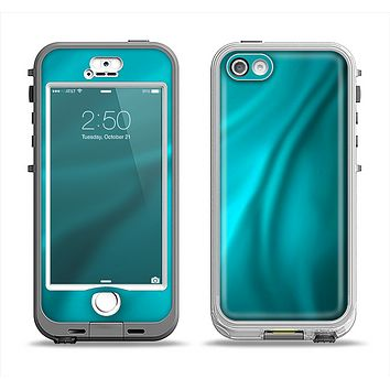 The Turquoise Blue Highlighted Fabric Apple iPhone 5-5s LifeProof Nuud Case Skin Set
