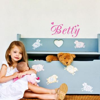 Creative DIY Love Heart Customized Any Kids Name Vinyl Wall Decal Sticker for Baby Room Decoration