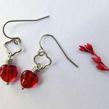 Red Heart glass earrings by SandstarJewelry on Etsy