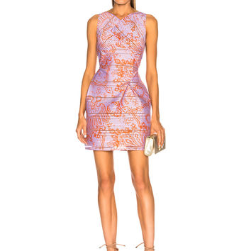 Roland Mouret Foxley Printed Striped Organza Dress in Hyacinth & Tangerine Paisley Print | FWRD