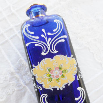 Vintage Italian Cobalt Glass Hand Painted Perfume Bottle, SC Line, Vase, Perfume Decanter