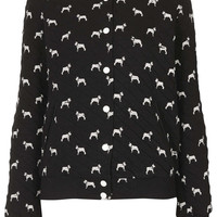 QUILTED DOG PRINT BOMBER JACKET