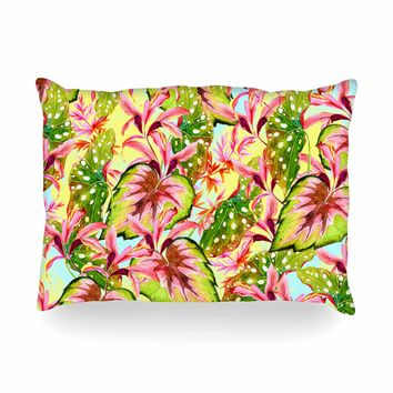 "Mmartabc ""Exotic Botanical Pattern"" Yellow Pink Illustration Oblong Pillow"