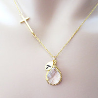 Cross necklace, initial necklace, personalized necklace,clear glass necklace,modern,cute, simple necklace, gift jewelry, bridesmaid necklace