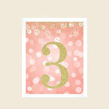Birthday Print, 3rd Birthday Party Sign, Number 3, 3rd Birthday Party, Third Birthday, Coral and Gold Glitter, Printable Party Decorations