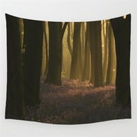 Lavender Meadow Sun Light Forest Wall Tapestry