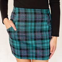 Celtic Knots Plaid Mini Skirt - Green