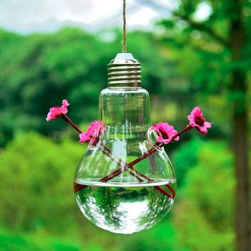 Clear Light Bulb Shape Glass Hanging Vase Terrarium Home Decoration