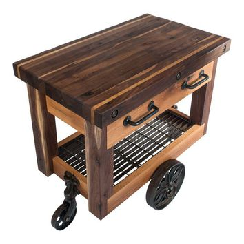 Pre-owned Lineberry Factory Cart Butcher Block