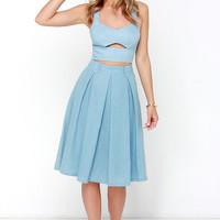 Sashay This Way Blue Chambray Two-Piece Dress