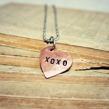 Stamped Copper Charm - 3/4 inch Heart Shaped with XOXO - Hand Stamped, Great Valentine's Day Gift