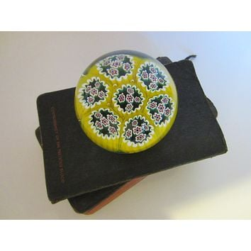 Millefiori Murano Italy Glass Paperweight Yellow Bed Blue Flowers
