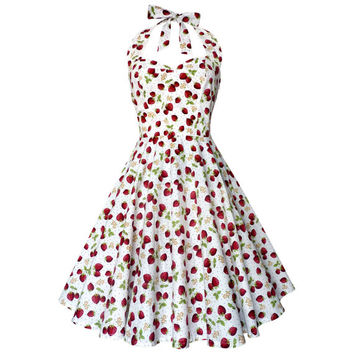 Strawberry Dress Fruit Dress Summer Dress Sun Dress Rockabilly Dress Pin Up Dress 50s Retro Plus Size Holiday Dress Party Dress Beach Dress