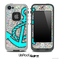 Colorful Sprinkles Print and Turquoise Anchor Skin for the iPhone 5 or 4/4s LifeProof Case