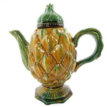 Olfaire Majolica Art Pottery Artichoke Teapot Made in Portugal Portuguese
