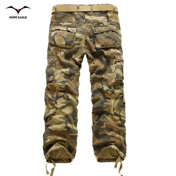 Loose multi-pocket camouflage pants men's casual cotton straight jeans big yards long frock multi zipper washed trousers trend
