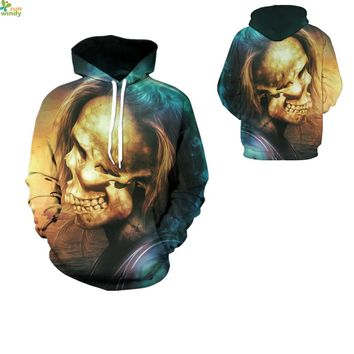 Halloween Skull Design Sweatshirts Winter Men's Hooded Jacket Coat Autumn Loose Blue Skateboarding Hoodies Streetwear Tracksuits
