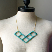 Unique Upcycled Chevron Style Necklace in Teal Green
